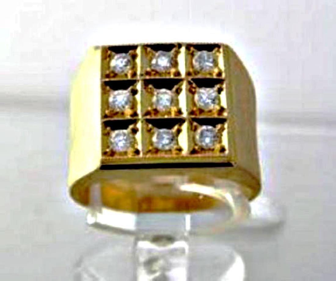Men's Diamond Ring .93 Carat 14k Yellow Gold