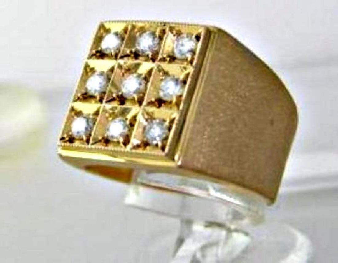 Men's Diamond Ring .93 Carat 14k Yellow Gold - 2