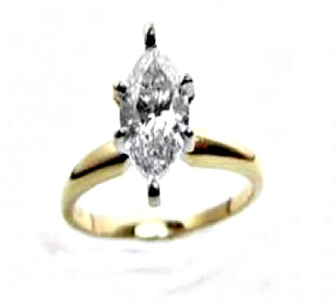 Solitaire Marquise Diamond Ring 1.08Ct 14k Y/g