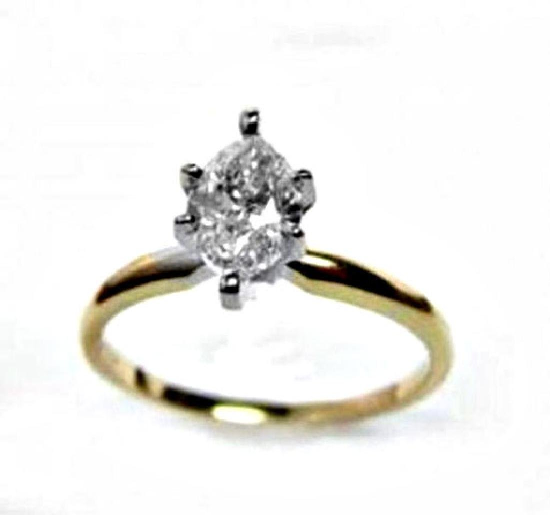 Solitaire Marquise Diamond Ring 1.08Ct 14k Y/g - 2