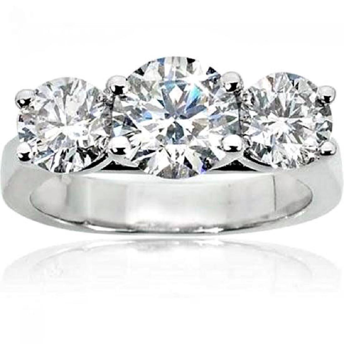 Present Past Future Diamond Ring 2.03Ct 14k White Gold