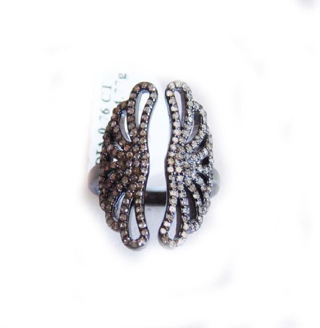 Vintage Inspired Diamond Ring. 79Ct 18k B/g Overlay