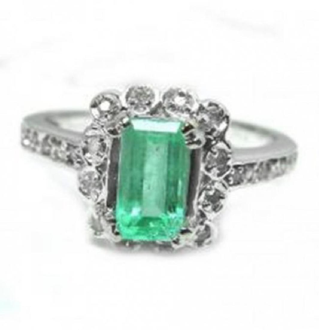 Emerald Diamond Ring 1.36Ct 14k W/g