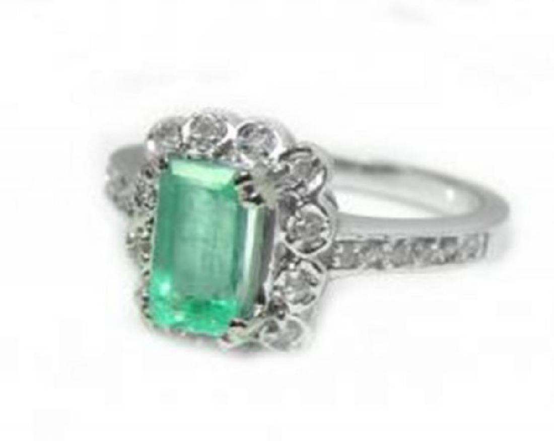 Emerald Diamond Ring 1.36Ct 14k W/g - 2