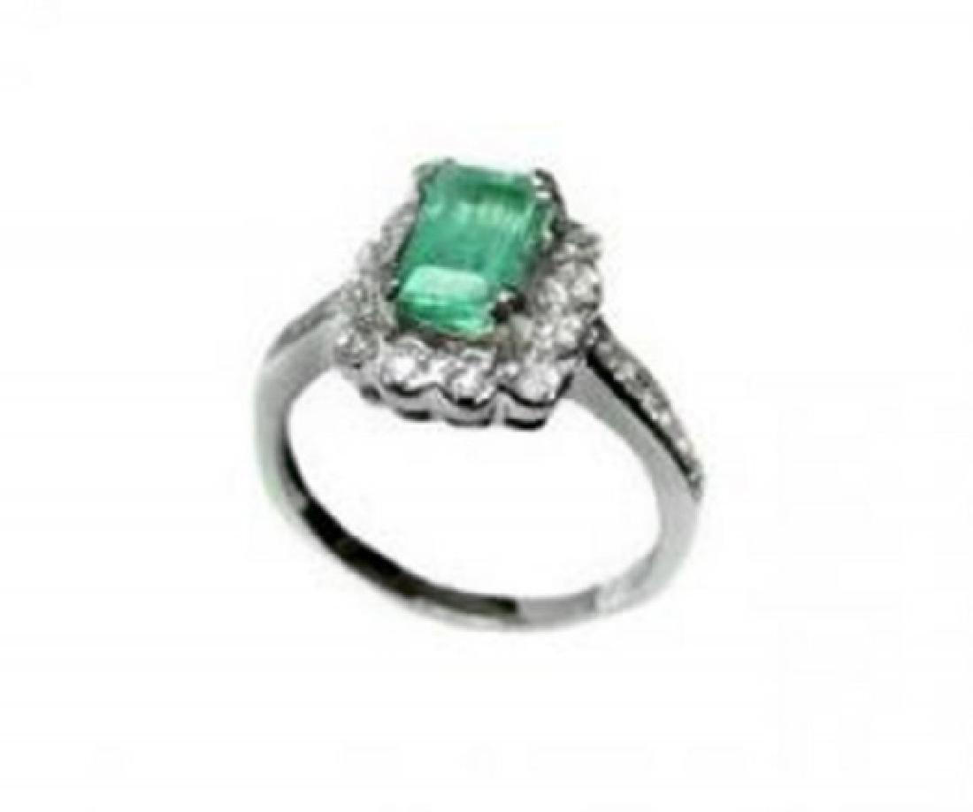 Emerald Diamond Ring 1.36Ct 14k W/g - 3