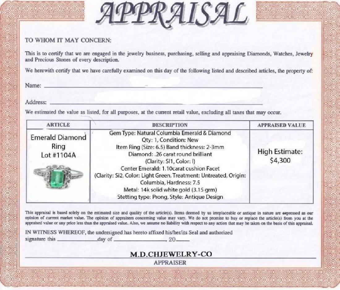 Emerald Diamond Ring 1.36Ct 14k W/g - 4