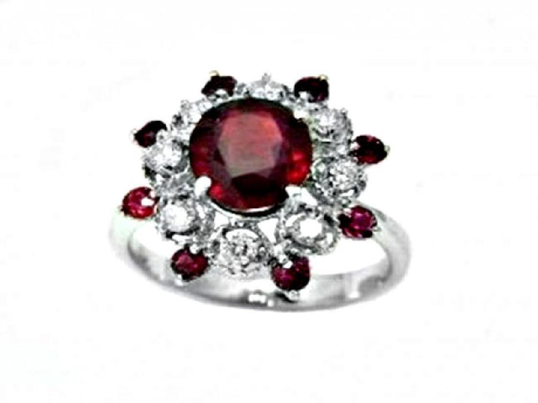 Annivery Diamond Ruby Ring 7.12Ct 14k W/g