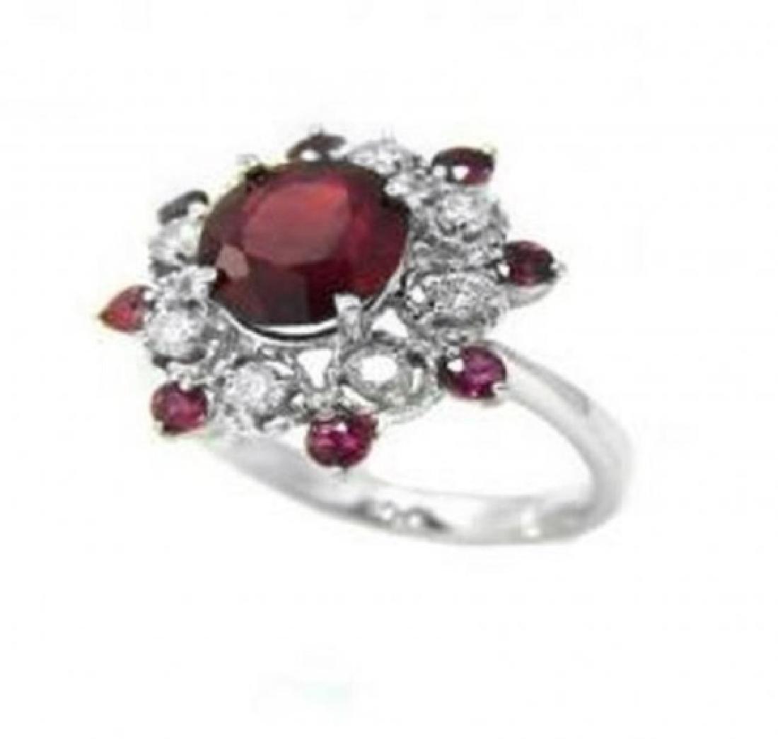 Annivery Diamond Ruby Ring 7.12Ct 14k W/g - 2