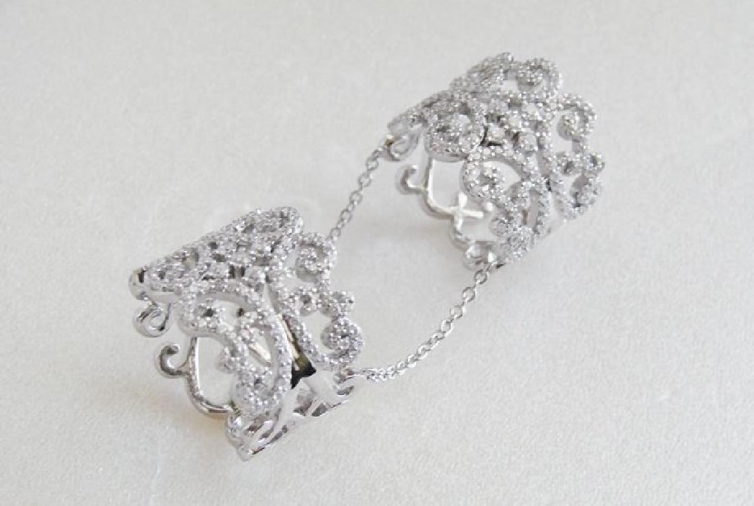 Creation Diamond Stacked Rings 5.12Ct 18K W/G Overlay