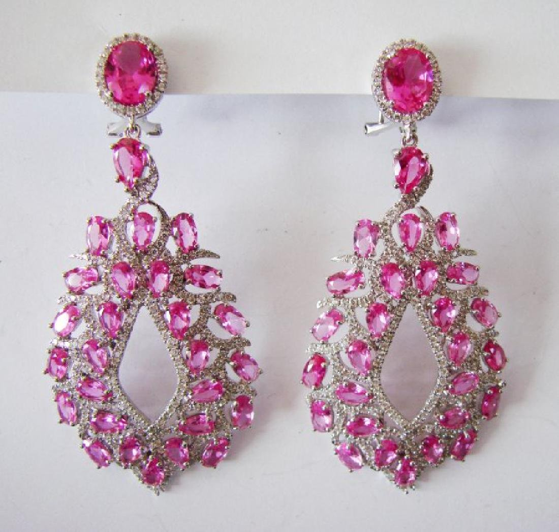 Creation, Diamond Earrings 14.48Ct 18k w/g Overlay