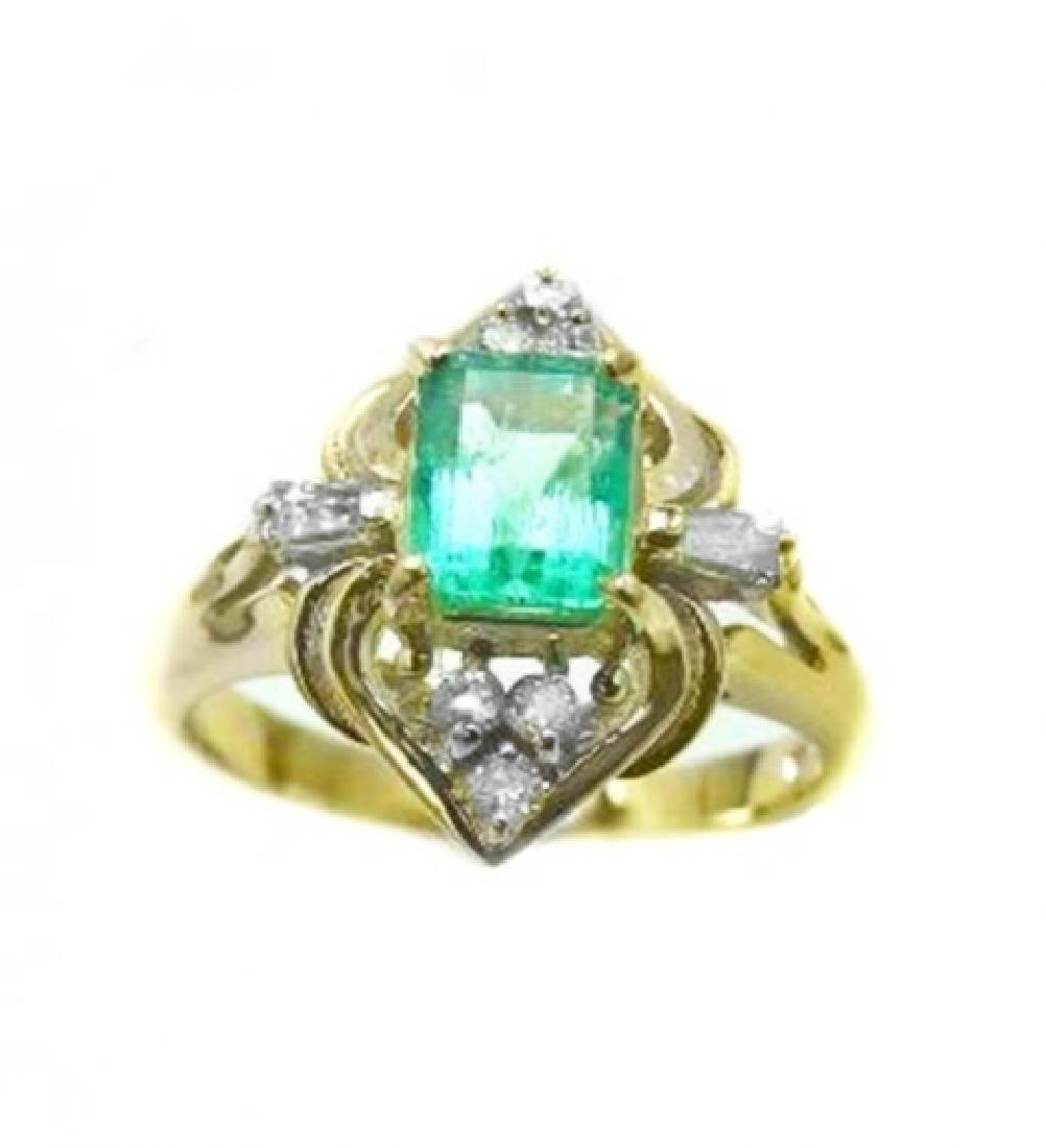 Emerald Ring .79 Ct Diamond .23 Ct 14k Y/g
