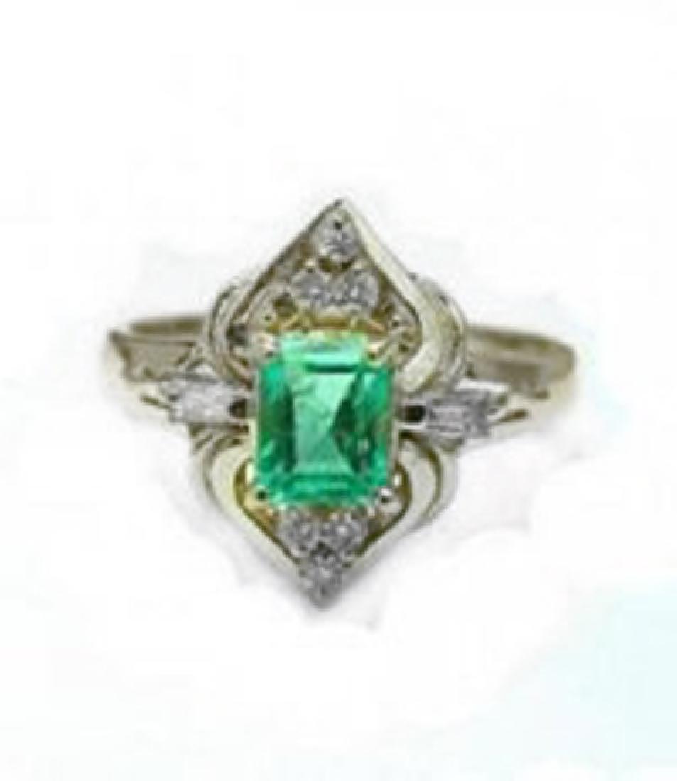Emerald Ring .79 Ct Diamond .23 Ct 14k Y/g - 2