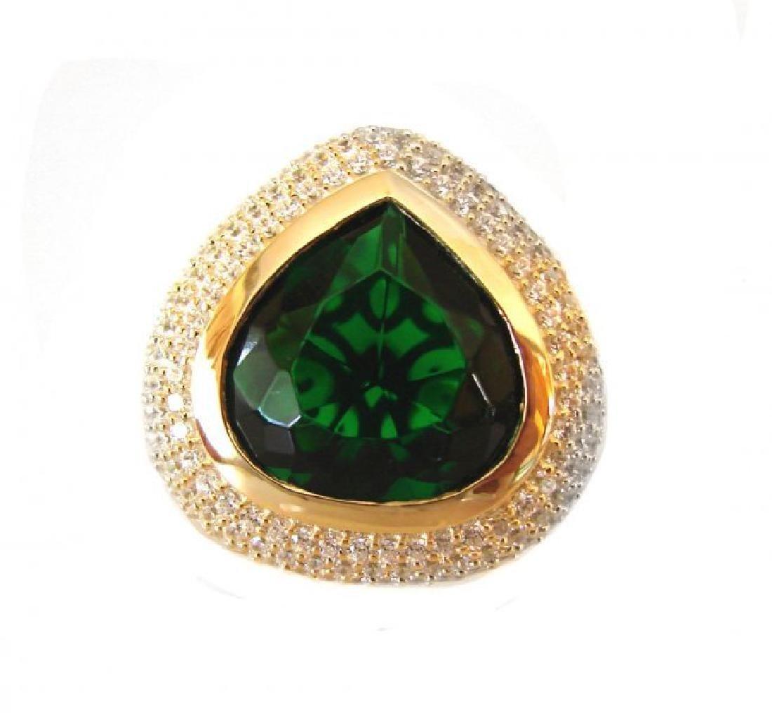 Creation Diamond Tourmaline Ring 8.58Ct 18k Y/g Overlay