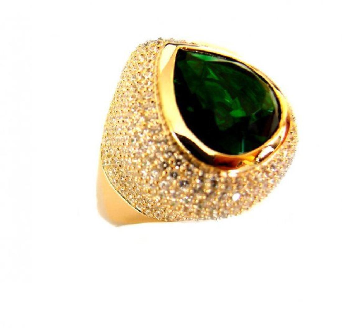 Creation Diamond Tourmaline Ring 8.58Ct 18k Y/g Overlay - 2