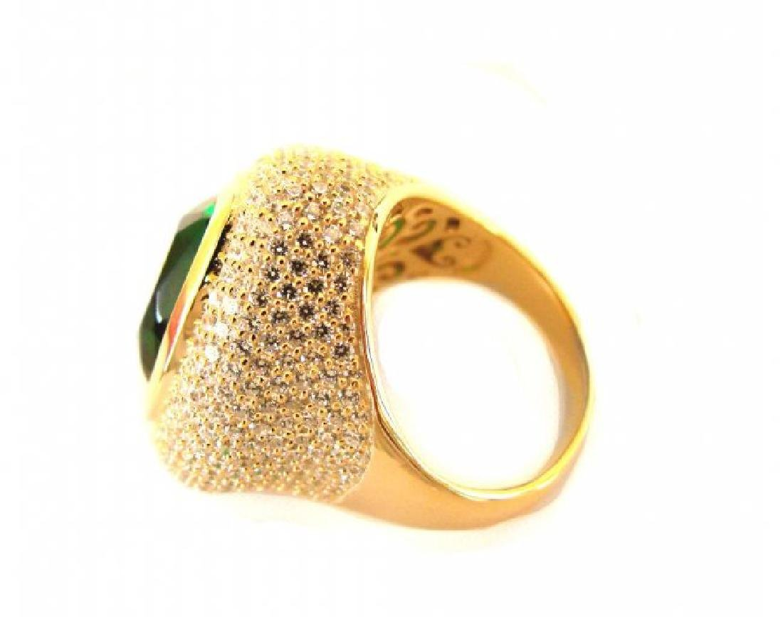 Creation Diamond Tourmaline Ring 8.58Ct 18k Y/g Overlay - 3