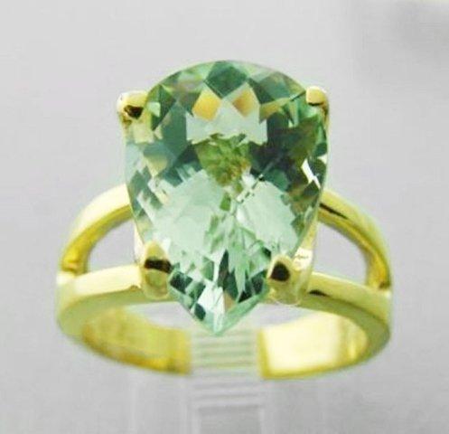 Green Amethyst Ring 6.37Ct VVS Setting 14k Y/G