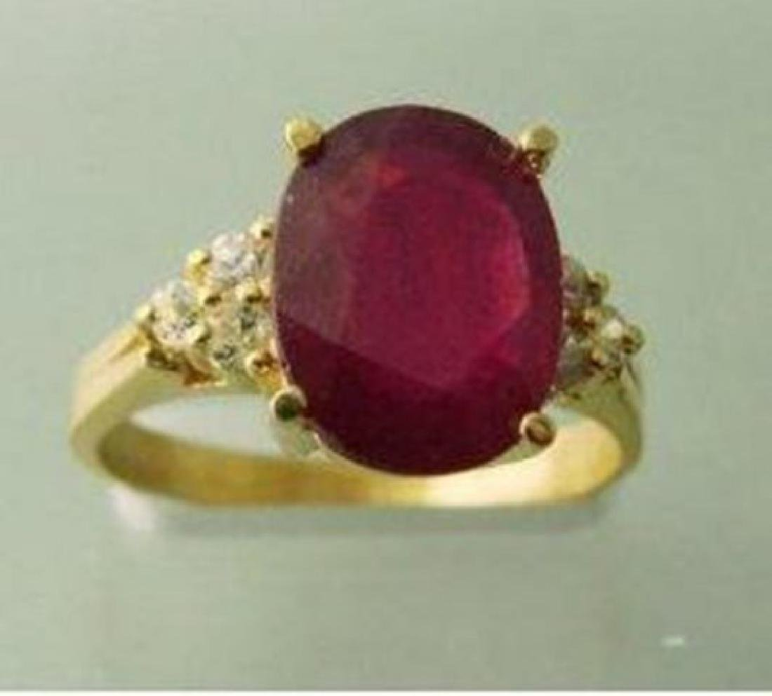 Natural Ruby Diamond Ring 3.21Ct 14k Y/g