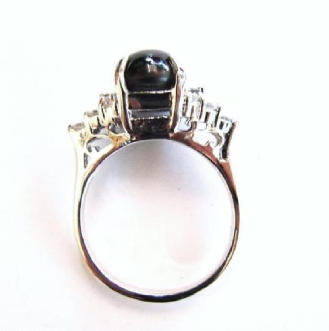 Star Sapphire Ring 3.24Ct & Diamond .42Ct 14k W/g - 4