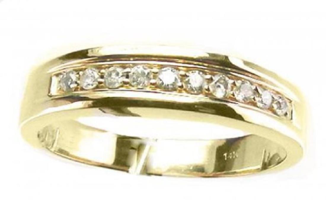 Man's Band Diamond Ring: .40 Carat 14k Y/g