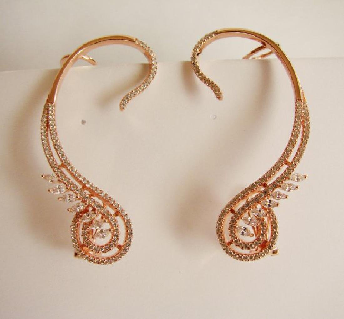 Creation, Diamond Earring 6.50Ct 18k R/g Overlay