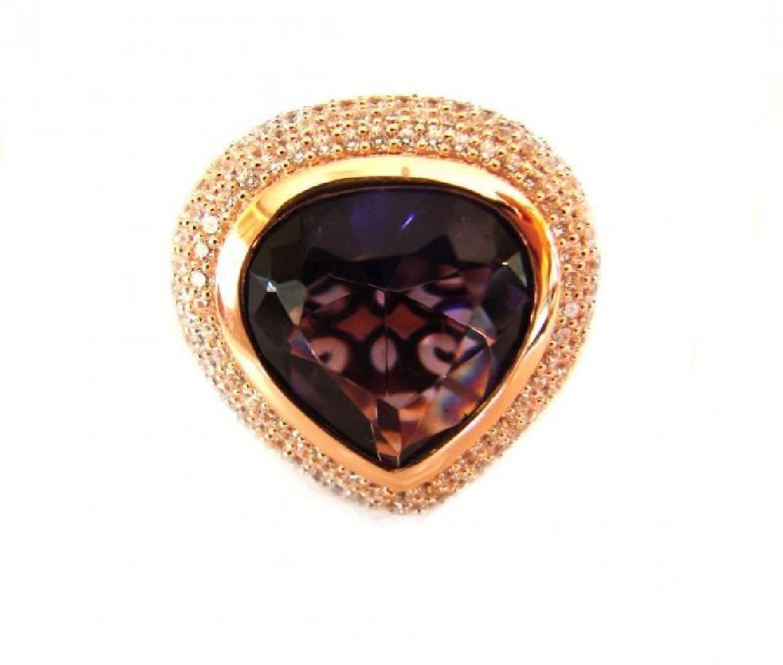 Creation Diamond Amethyst  Ring 8.58Ct 18k R/g Overlay