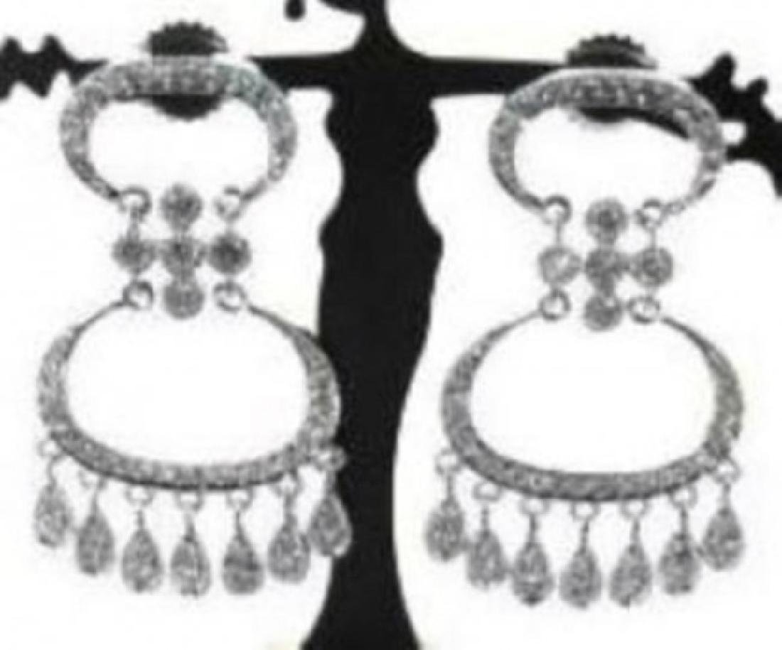 Chandelier Diamond Earrings 1.45Ct 14k White Gold