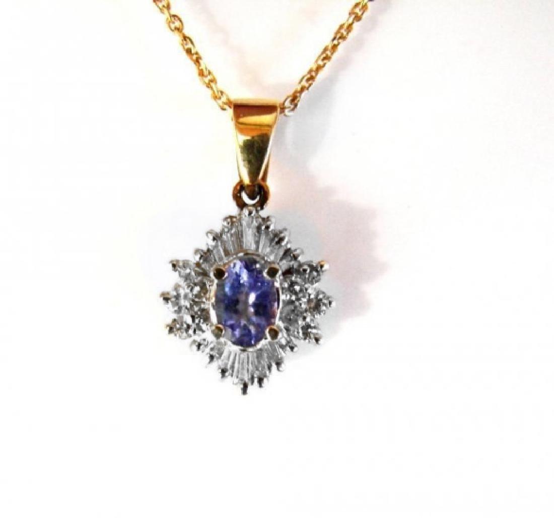 Natural Tanzanite Diamond Pendant: 1.89Ct14K Y/g