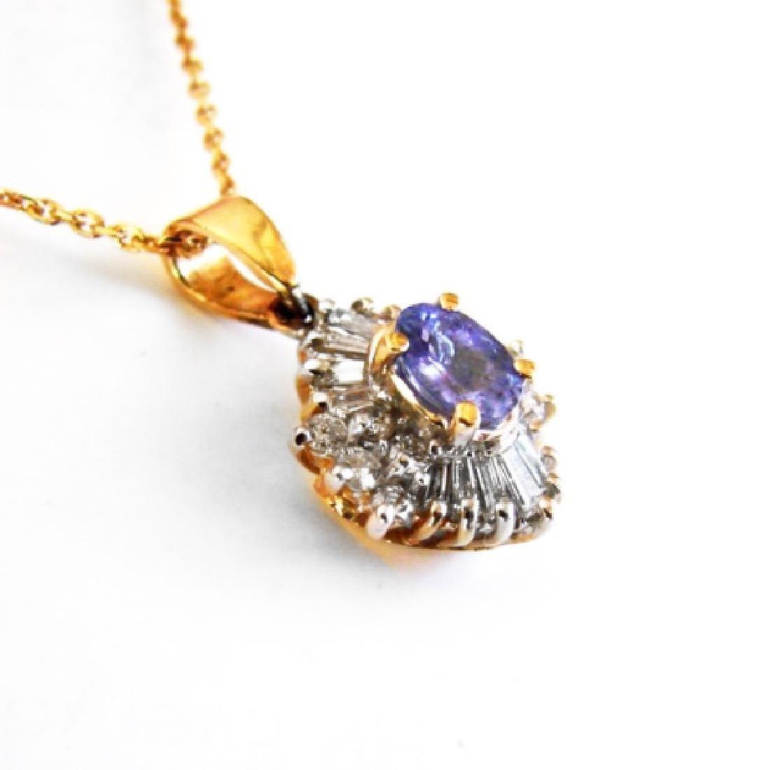 Natural Tanzanite Diamond Pendant: 1.89Ct14K Y/g - 2