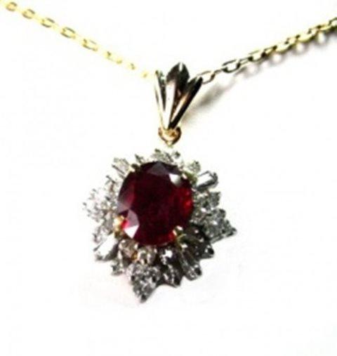 Ruby Pendant: 3.18Ct , Diamond: 1.12 Ct 14K Y/G