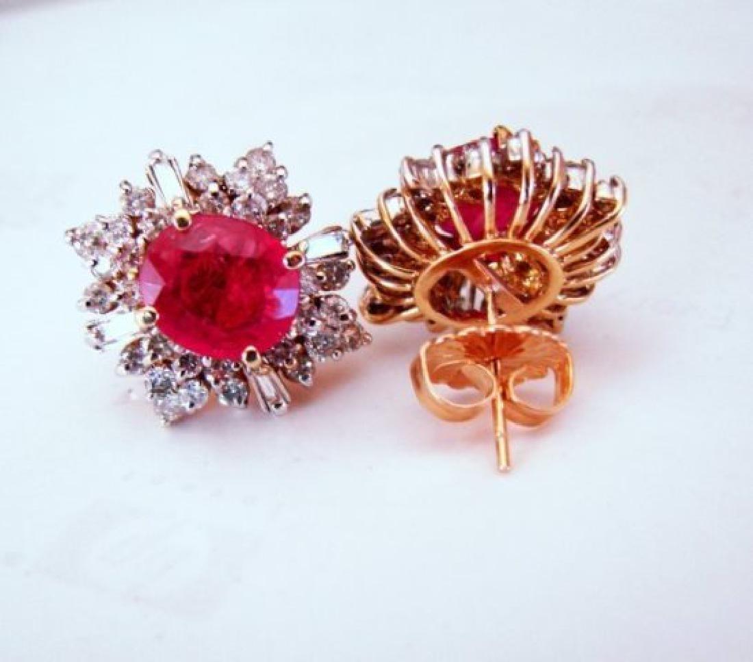 Natural Ruby Diamond Earrings: 9.24Ct 14K Y/G - 2