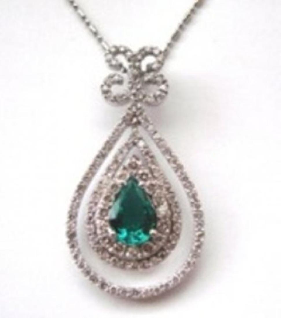 Emerald & Diamond Pendant:4.08Ct 14k W/g