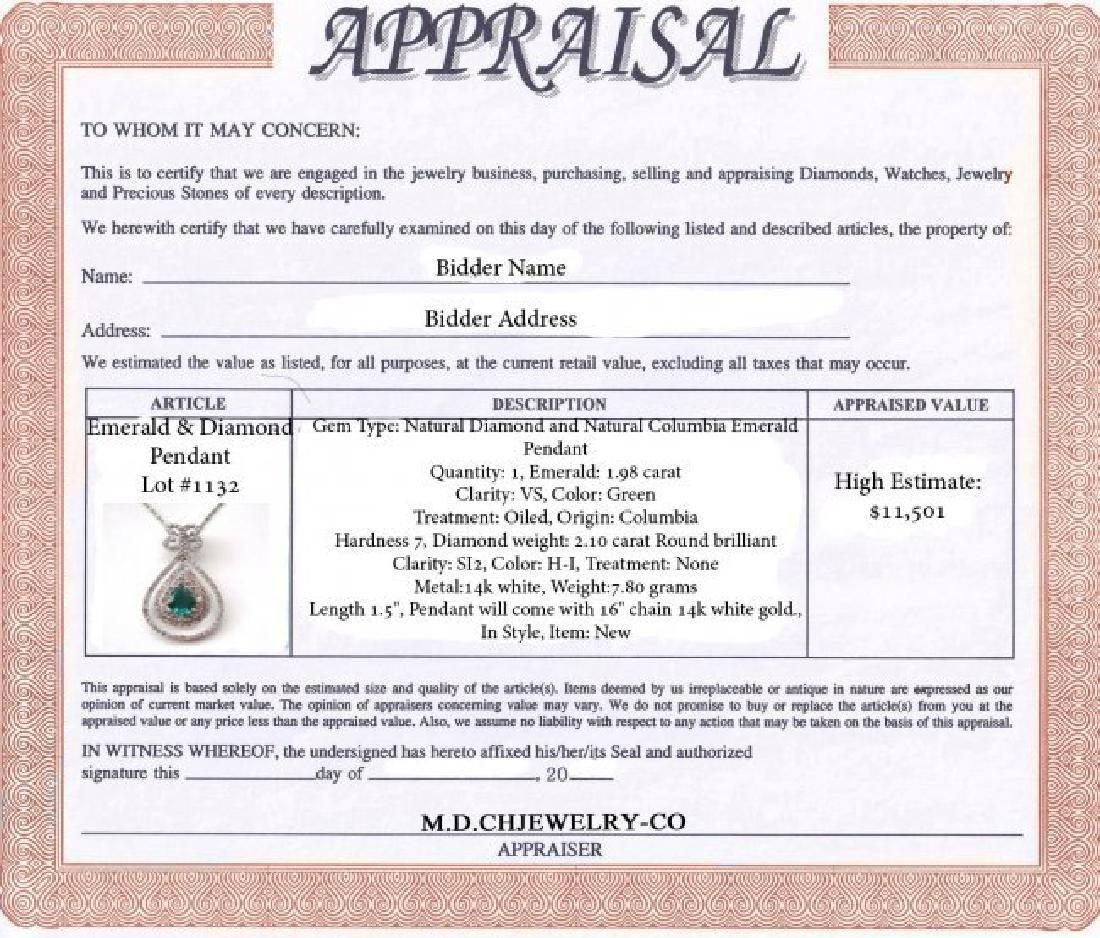 Emerald & Diamond Pendant:4.08Ct 14k W/g - 2