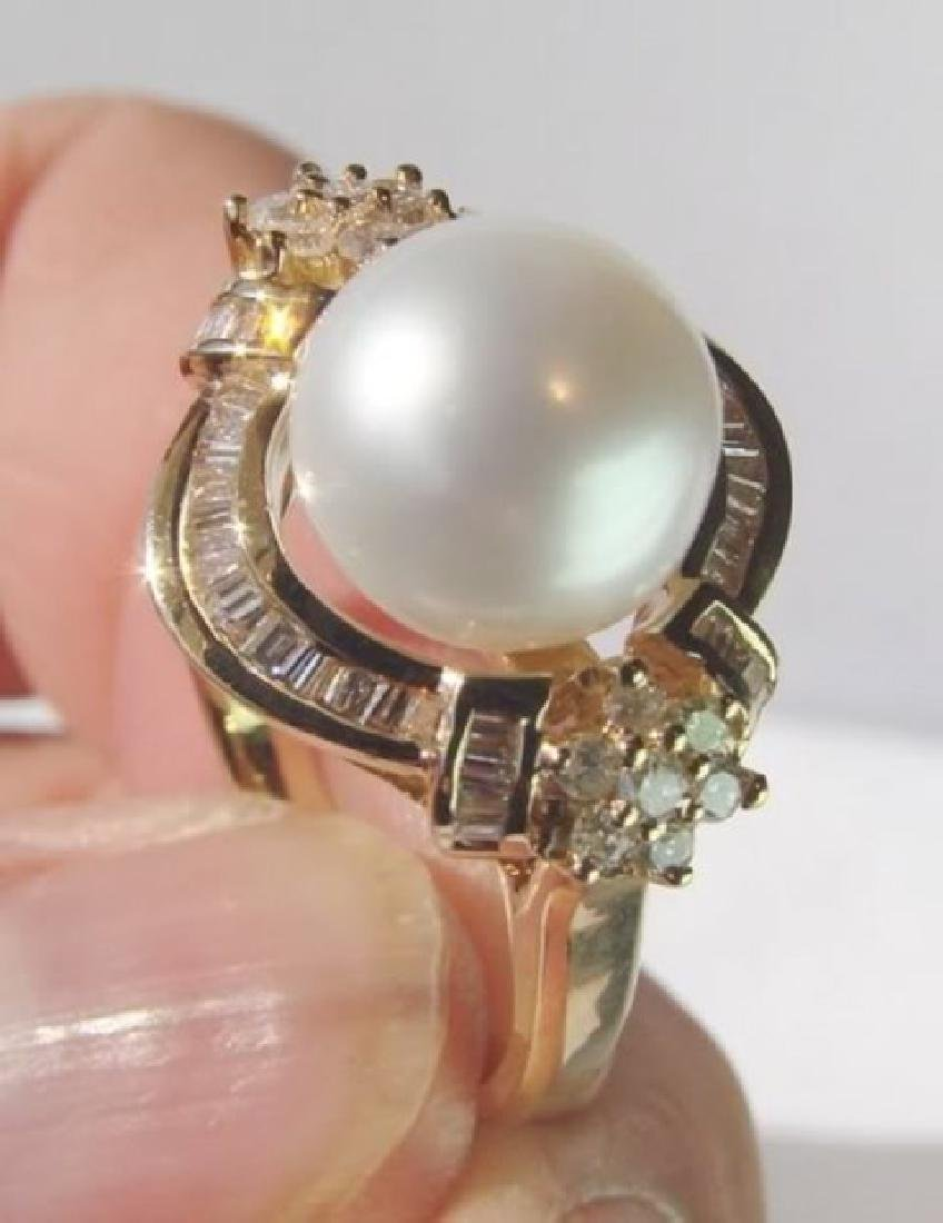 South Sea Pearl Ring 10mm Dia:1.02Ct 14k Y/g - 2