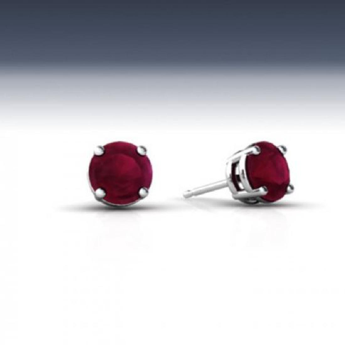 Stud Ruby Earrings 4.35 Carat 14k White Gold