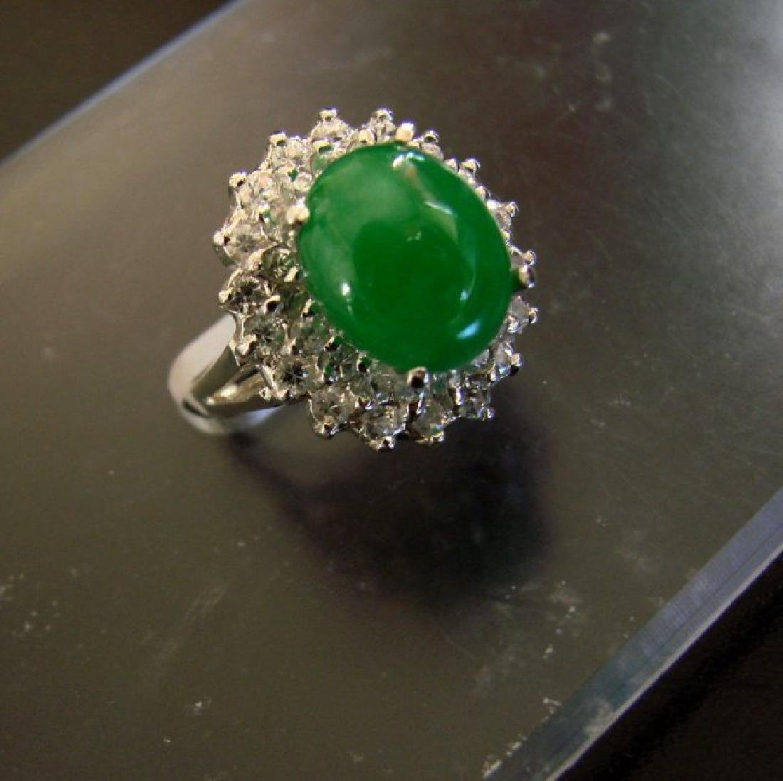 Anniversary Ring Imperial Jade/Diamond 7.53Ct 14k W/g