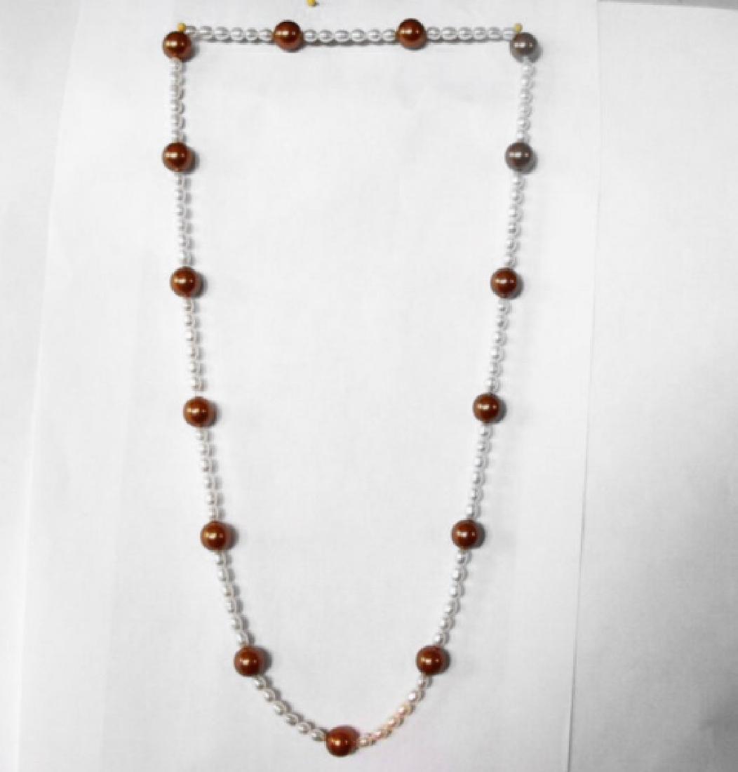 "Chocolate Swarovski Culture Pearl Necklace 25""inch"