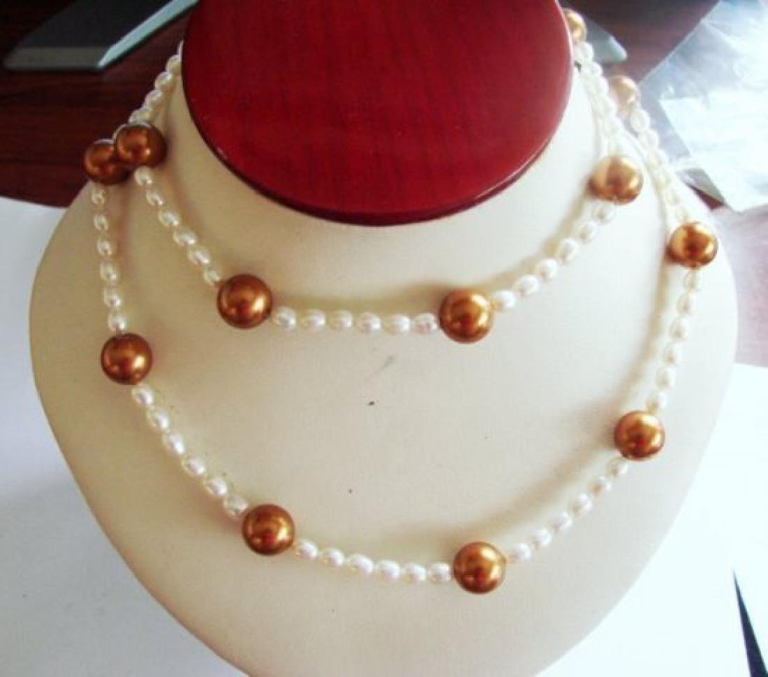 "Chocolate Swarovski Culture Pearl Necklace 25""inch - 2"