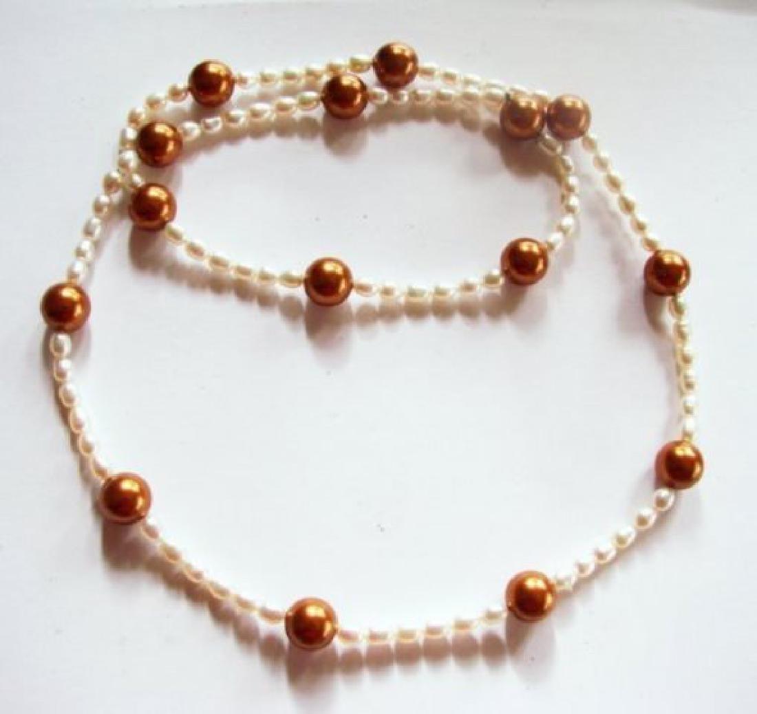 "Chocolate Swarovski Culture Pearl Necklace 25""inch - 3"