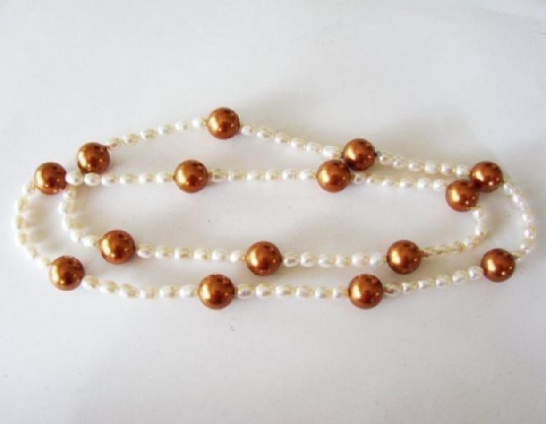"Chocolate Swarovski Culture Pearl Necklace 25""inch - 4"