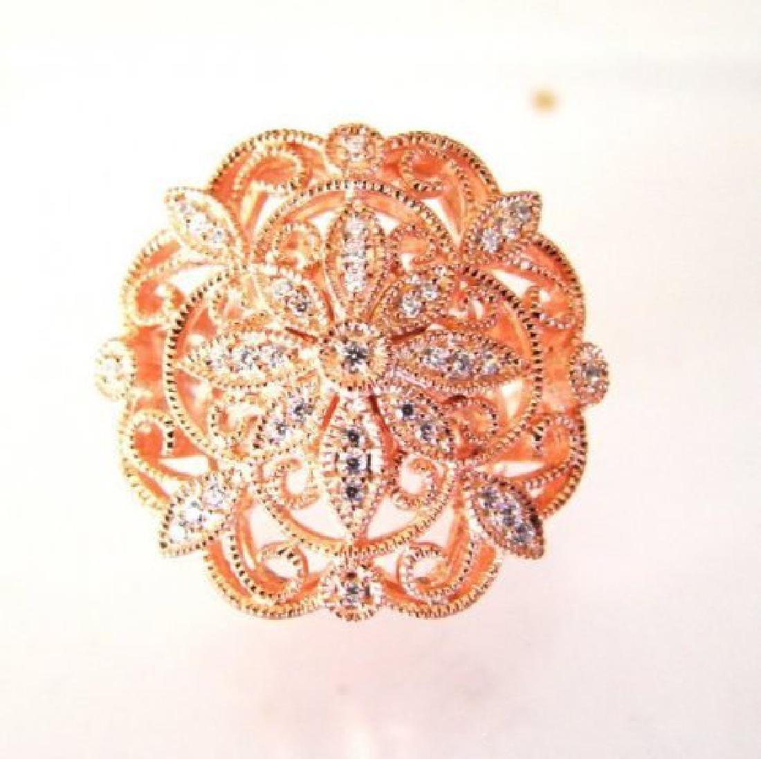 Creation Diamond Scallop Ring .39Ct 18k R/g Overlay