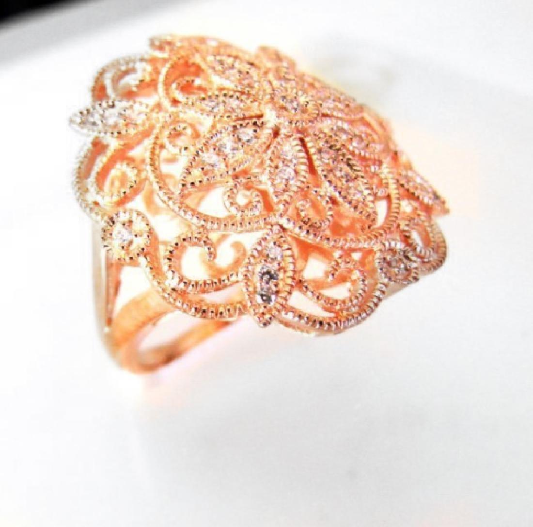 Creation Diamond Scallop Ring .39Ct 18k R/g Overlay - 2