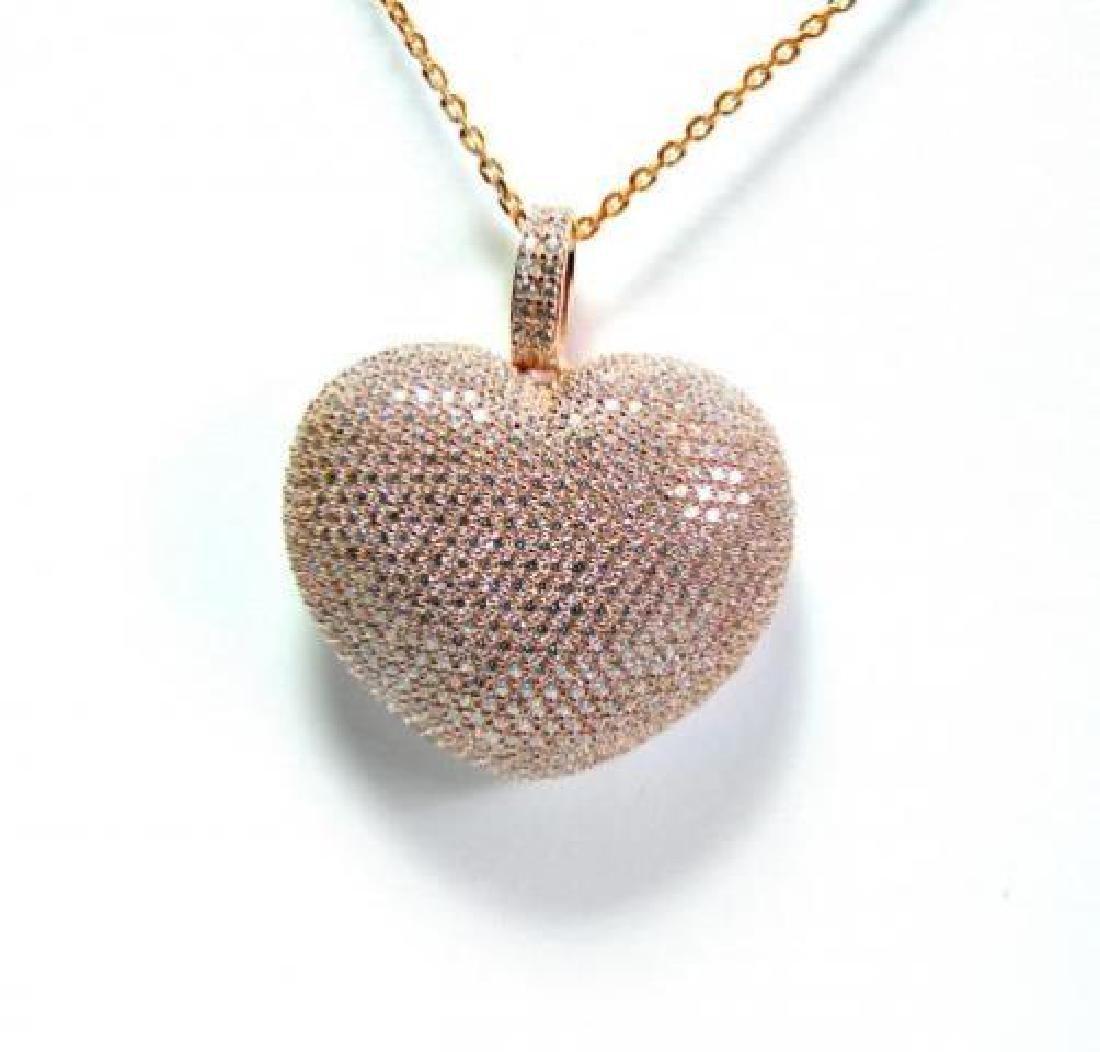 Creation Diamond/ Heart Pendant 2.51Ct 18k R/g Overlay - 2