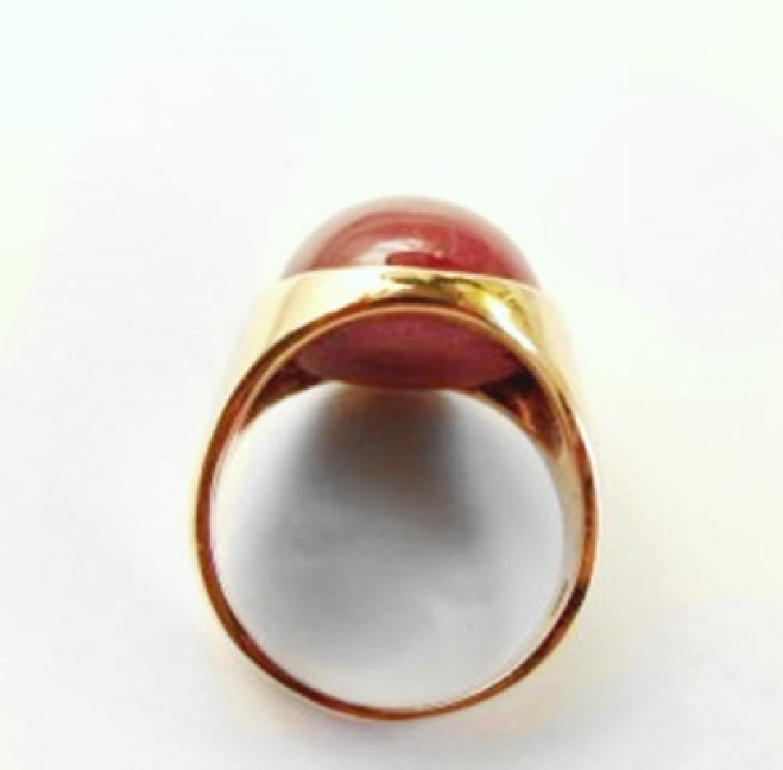 Star Ruby Cabochon/ Diamond Men Ring 29.84Ct 14K Y/g - 4