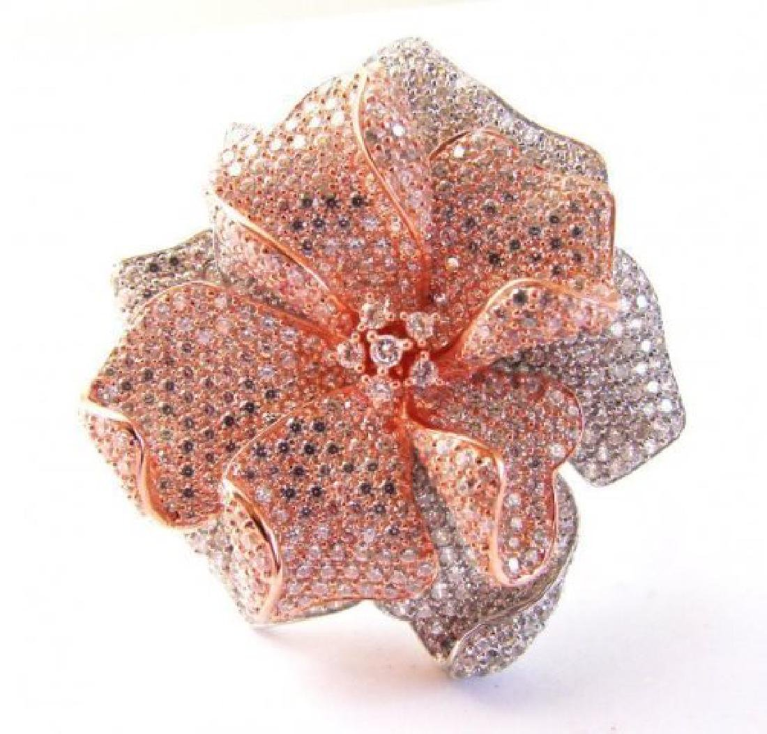 Creation Diamond Ring 6.45Ct 18k R-W/g Overlay