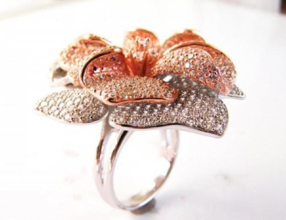 Creation Diamond Ring 6.45Ct 18k R-W/g Overlay - 2