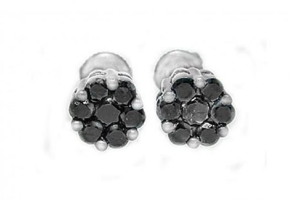 Invisible Black Diamond Stud Earring 1.12Ct 14k W/g