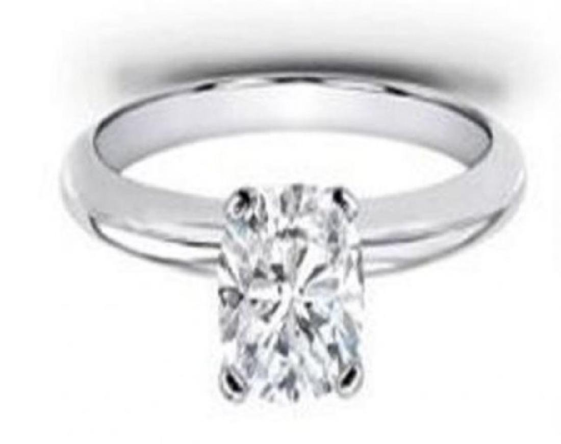 Solitaire Cushion Diamond Ring 1.13 Ct 14k W/g