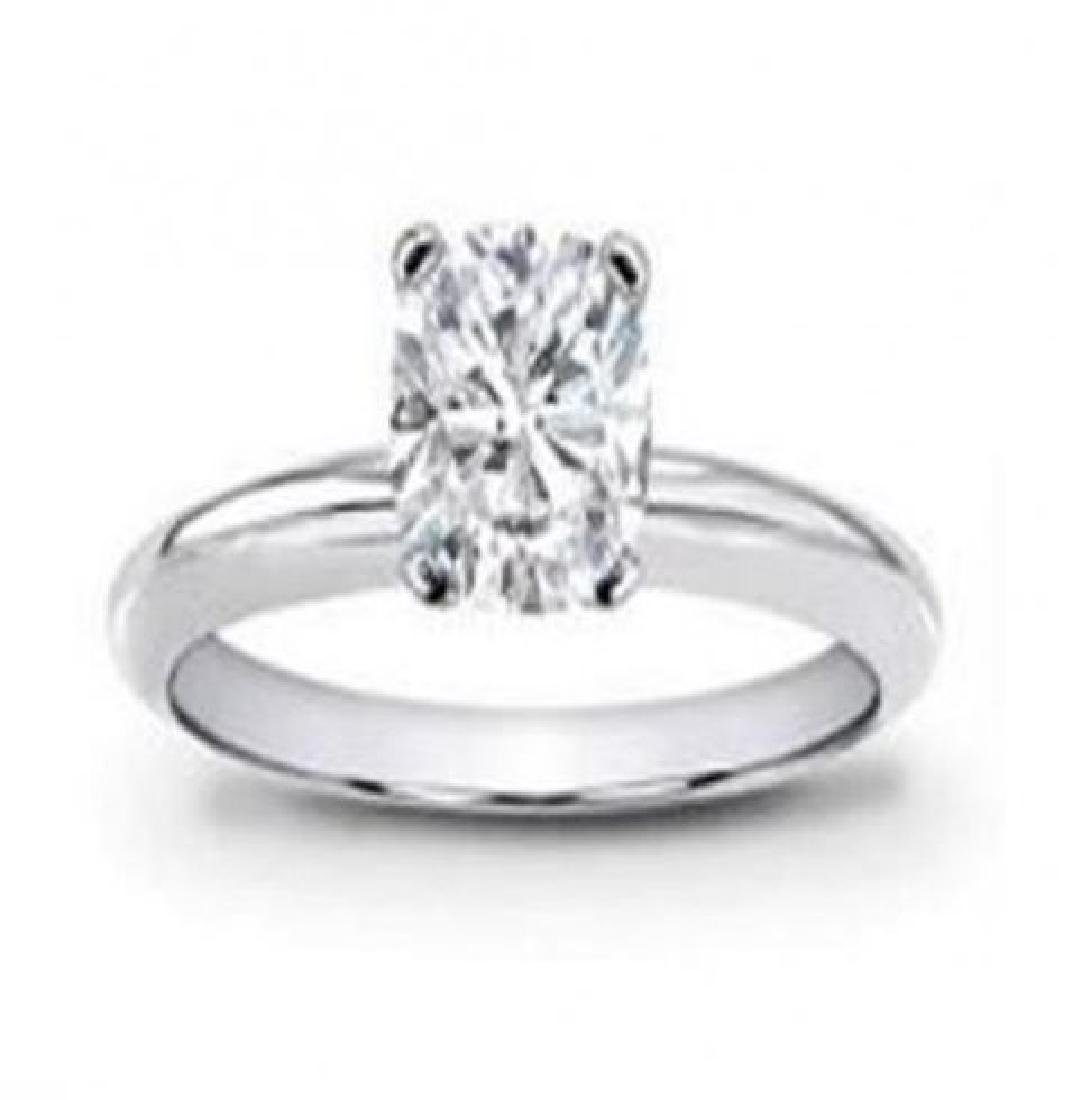 Solitaire Cushion Diamond Ring 1.13 Ct 14k W/g - 2