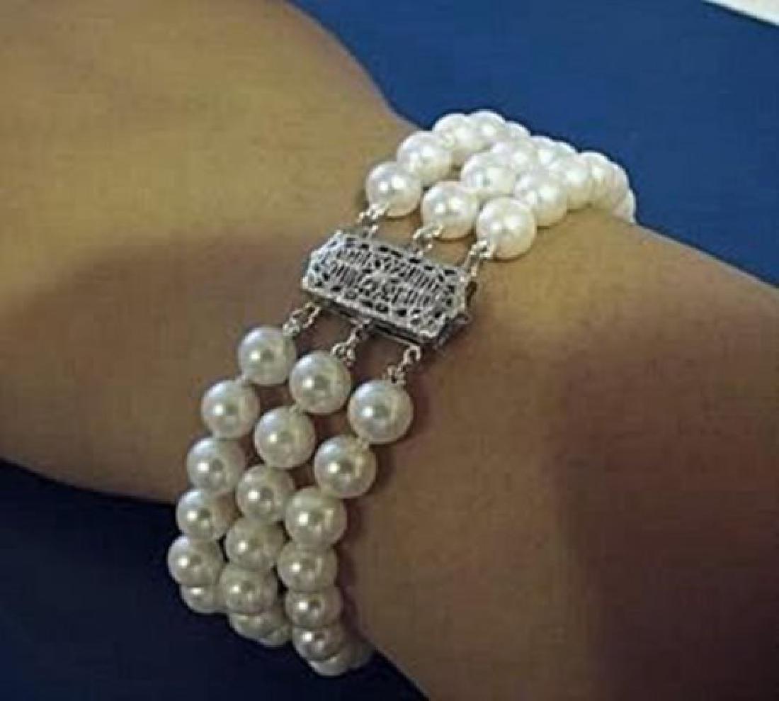 7mm Akoya 3 Strand Bracelet 6-7mm 14k White Gold Clasp