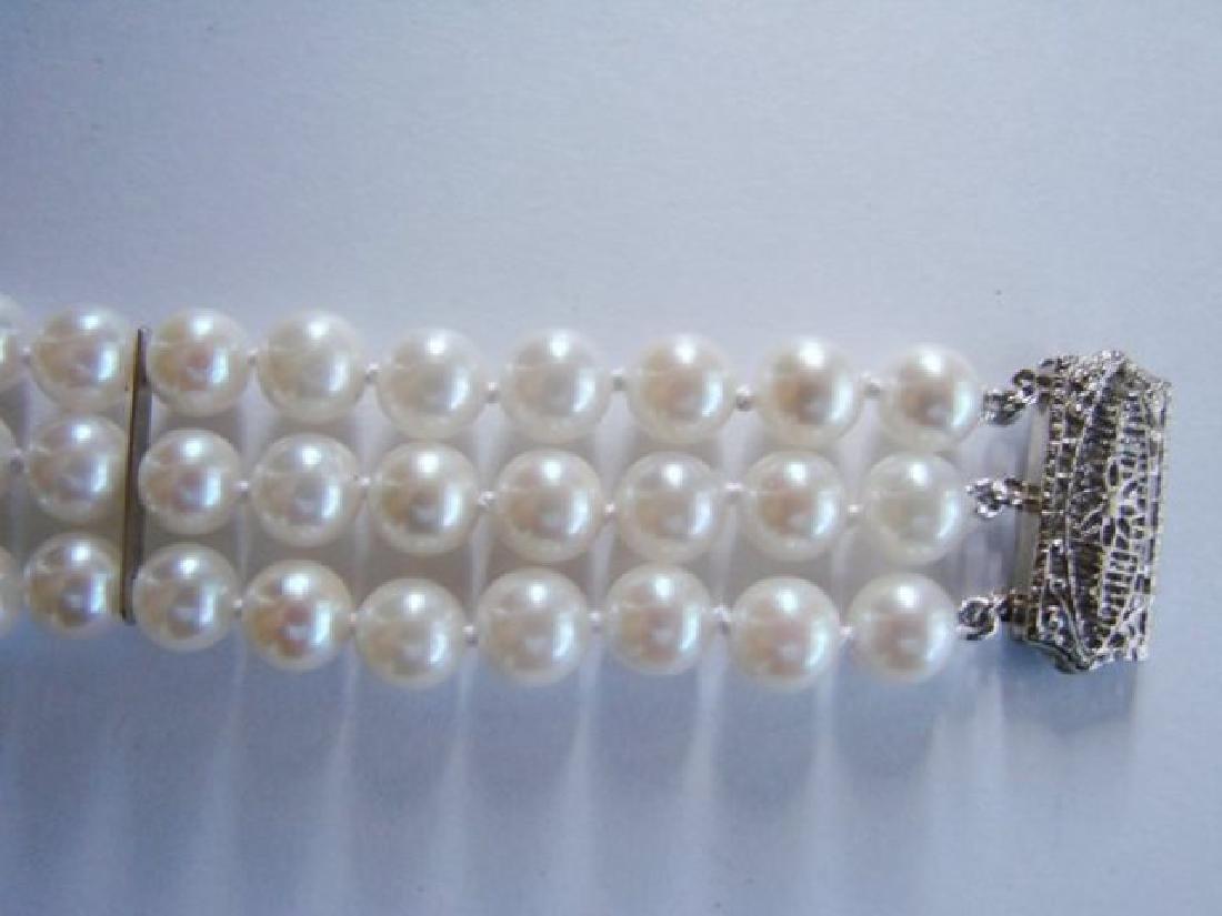 7mm Akoya 3 Strand Bracelet 6-7mm 14k White Gold Clasp - 2
